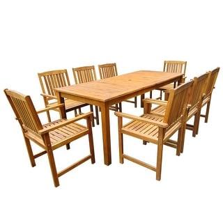 vidaXL 9 Piece Outdoor Dining Set Solid Acacia Wood