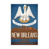 New Orleans State Flag Skylines Matte Poster 24x36