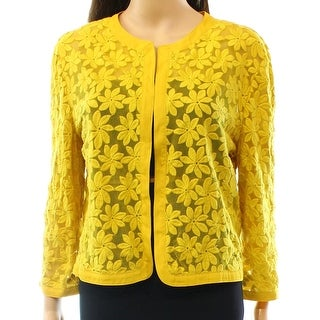 Anne Klein NEW Yellow Women Size 4 Floral Lace Cropped Cardigan Sweater