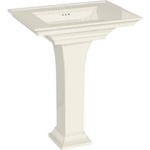 "American Standard 0297.100 Town Square S 30"" Rectangular Fireclay Pedestal Bathroom Sink with Overflow and Single Faucet Hole"