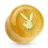 Gold IP Playboy Logo on Organic Bamboo Wood Saddle Plug (Sold Individually)