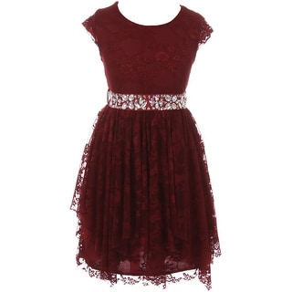 Flower Girl Dress Floral Lace Ruffle Layers Skirt Burgundy JKS 2095 (Option: 8)