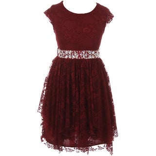 Flower Girl Dress Floral Lace Ruffle Layers Skirt Burgundy JKS 2095