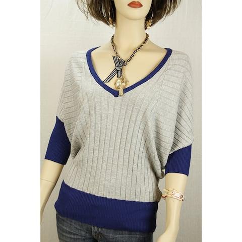 Gray Blue V-Neck Dolman Knit Golf Horse Riding Polo Sports Sweater Top - 3585