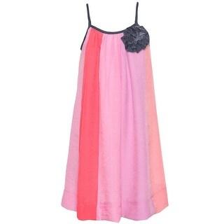 Lele Little Girls Pink Fuchsia Vertical Stripe Pattern Flower Accent Dress