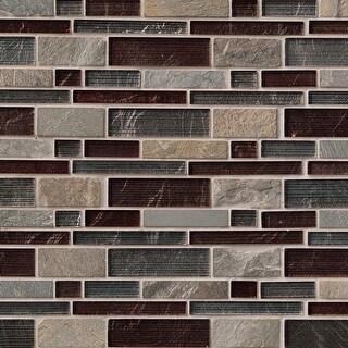 "MSI SGLSIL-URB8MM  12"" x 12"" Random Linear Mosaic Wall Tile - Textured Stone Imitating Visual - Sold by Carton (10 SF/Carton)"