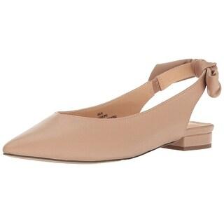 Nanette Lepore Womens Ariel-NL Leather Pointed Toe SlingBack Slingback Flats (3 options available)