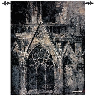 "Gothic Language Black and White Cotton Wall Art Hanging Tapestry 42"" x 35"""