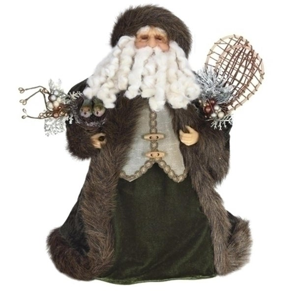 "17"" Old World Father Christmas Santa Claus Figure with Bird Accent and Faux Fur Coat"