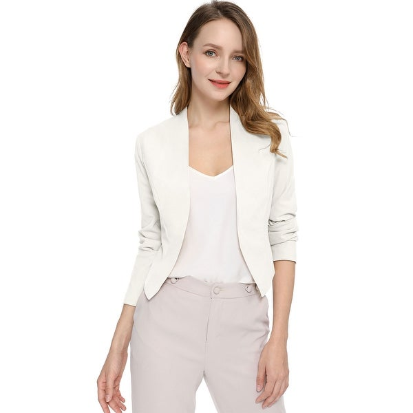 Women Collarless Work Office Business Casual Cropped Blazer. Opens flyout.