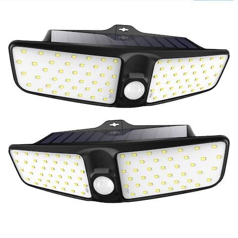 2PC 80 LED Solar Wall Lights Wireless Security Light Motion Sensor Outdoor IP65 Waterproof Light for Garden