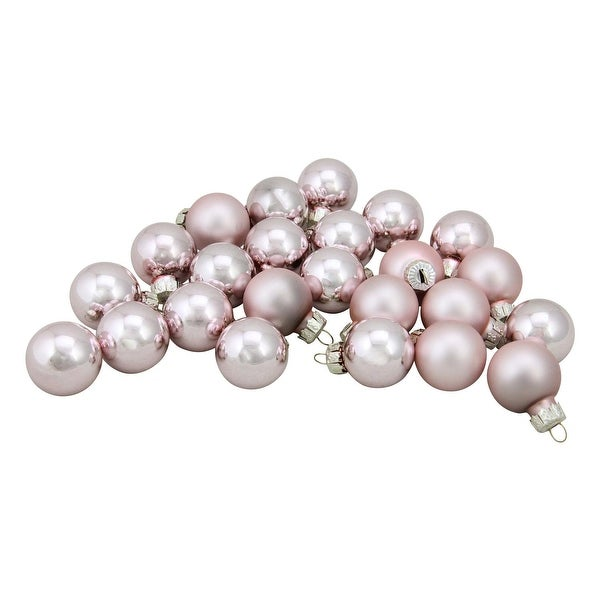 "24-Piece Shiny and Matte Baby Pink Glass Ball Christmas Ornament Set 1"" (25mm)"