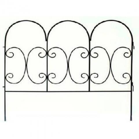 "PanaceaA¢ 87402 Decorative Scroll Fence Panel, Black, 30"" x 36"""