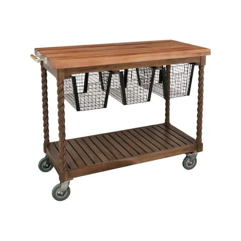 "GuildMaster 6317003ET Teak Cart 48"" Wide Teak Wood Island Cart"