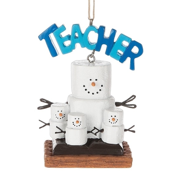 "3.5"" S'mores Teacher Marshmallow Christmas Ornament"