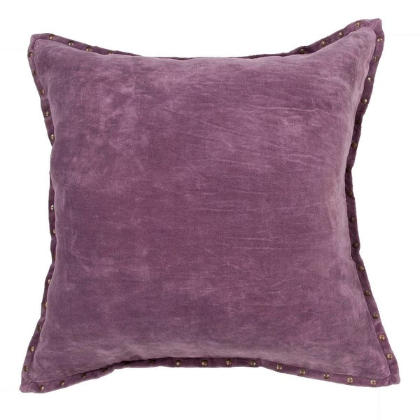 "22"" Concord Grape Cotton Velvet Solid Pattern Indoor Decorative Throw Pillow"