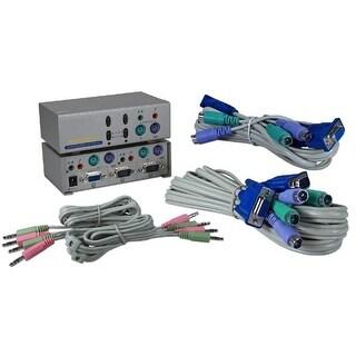 QVS KVMS-12A PS-2 2Port KVM Audio Premium Autoswitch with Combo Cable