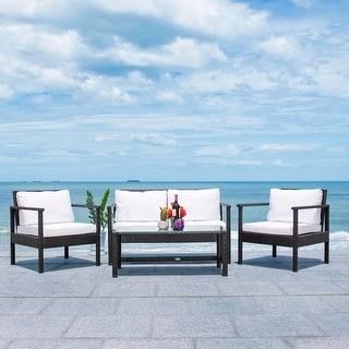 Link to SAFAVIEH Outdoor Garnen 4-Piece Wicker Living Set Similar Items in Patio Furniture
