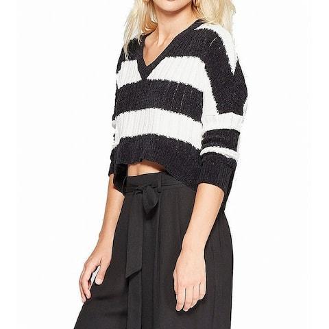 Living Doll Women's Black Medium M Striped Long Sleeve Chenille Sweater
