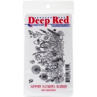 "Deep Red Cling Stamp 3.2""X2""-Summer Flowers Border"