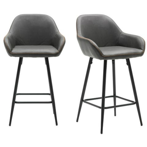 "25"" Bucket Upholstered Dark Accent Dining counter Barstool Chair Set OF 2"
