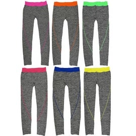 Women 6 Pack Heather Space Dye Contrast Color Band Athletic Sports Full-Length Leggings