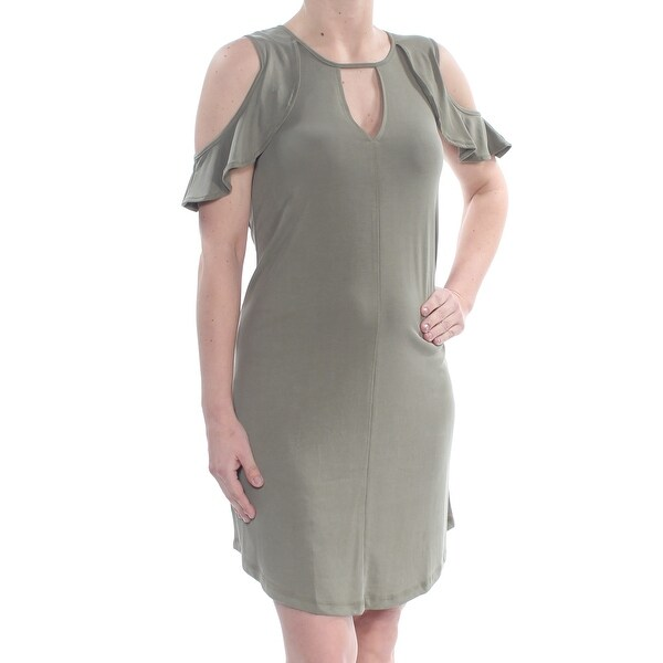 JESSICA SIMPSON Womens Green Ruffled Cold Shoulder Keyhole Above The Knee Sheath Dress Size: S