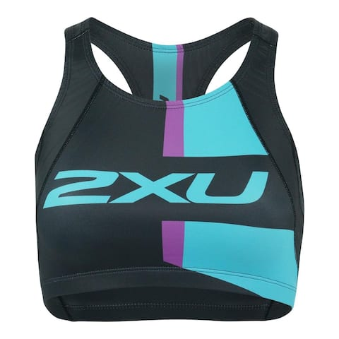 2XU Women's Active Crop Top - Black/Turquoise