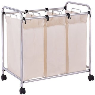 Gymax Laundry Cart Basket Triple Bag Clothes Storage - as pic