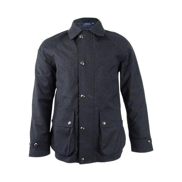S Men's Wool In Twill Polo CoatsBlack Lauren 3 CoalCoal Ralph 1 XOPnZN80wk