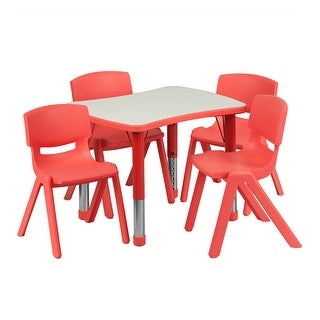Offex 21.875''W x 26.625''L Adjustable Rectangular Red Plastic Activity Table Set with 4 School Stack Chairs
