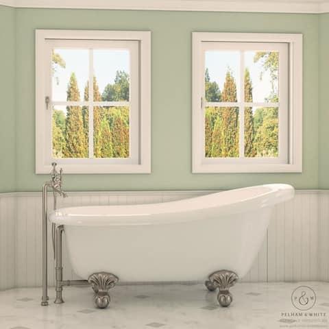 Pelham & White Luxury 67 Inch Clawfoot Slipper Tub with Nickel Ball and Claw Feet