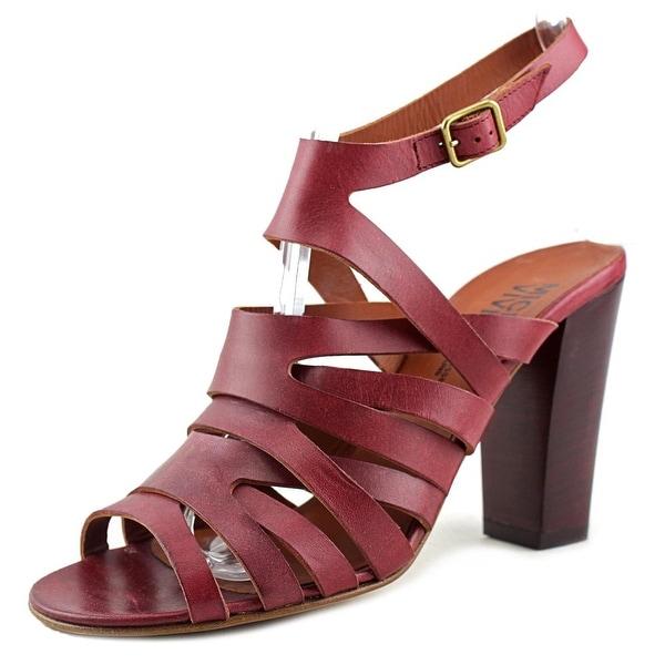 Michel Vivien 018551 Women Open-Toe Leather Burgundy Slingback Heel