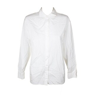 Dkny White Illusion Pleated-Back Button-Down Shirt XS
