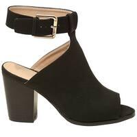 Soho Adult Black Buckle Strap Peep Toe Block Heel Bootie Sandals
