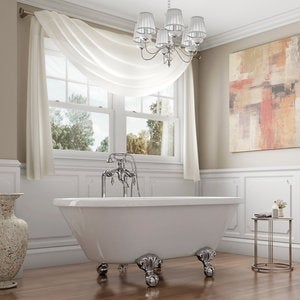 Pelham & White Luxury 60 Inch Clawfoot Tub with Chrome Ball and Claw Feet