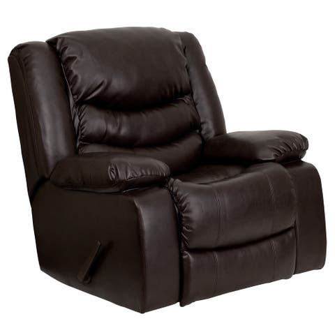 Plush LeatherSoft Lever Rocker Recliner with Padded Arms - Home Recliner