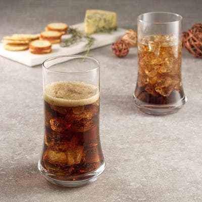 JoyJolt Cosmos Crystal 18.5 oz Heavy Base Drinking Glasses (Set of 4) Highball Glasses