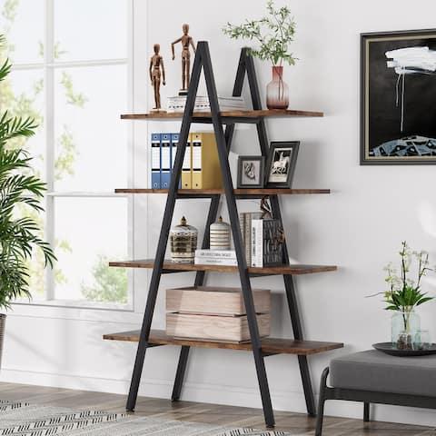 A-Frame Bookshelf, 4-Tier Open Storage Ladder Bookshelf Bookcase
