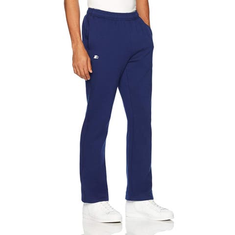 Starter Men's Open-Bottom Sweatpants with Pockets, Amazon, Team Navy, Size Large