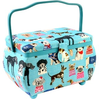 "Sewing Basket Rectangle-10.5""X6""X7"" Puppies Print"