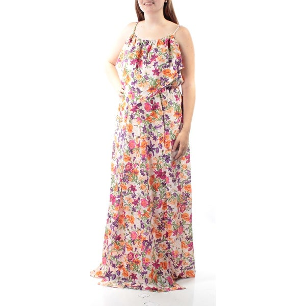 f9d1c40ae55 Shop BCBGENERATION Womens Purple Slitted Floral Spaghetti Strap Scoop Neck  Full Length Empire Waist Dress Size  L - Free Shipping On Orders Over  45  ...
