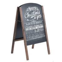 Costway 40'' Wood A-Frame Chalkboard Sign Menu Board Sidewalk Wedding Signage - black & coffee