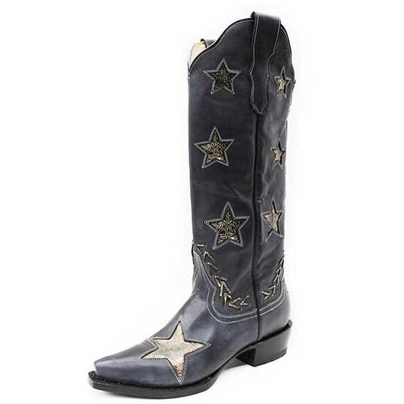 Stetson Western Boot Womens Star Snip Black