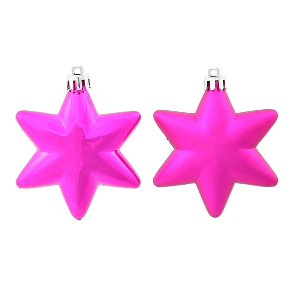 "36ct Matte & Shiny Cerise Pink Star Shatterproof Christmas Ornaments 1.5""-2"""
