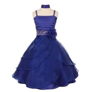 Little Girls Royal Blue Cascade Overlaid Studded Waist Flower Girl Dress 4-6