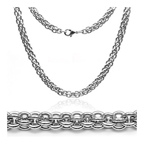 """22"""" Inch Stainless Steel 6mm Double Round Link Necklace Chain (6 mm) - 22 in"""