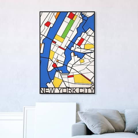 Oliver Gal 'New York Solid Color Map' Maps and Flags Wall Art Framed Canvas Print US Cities Maps - Blue, White