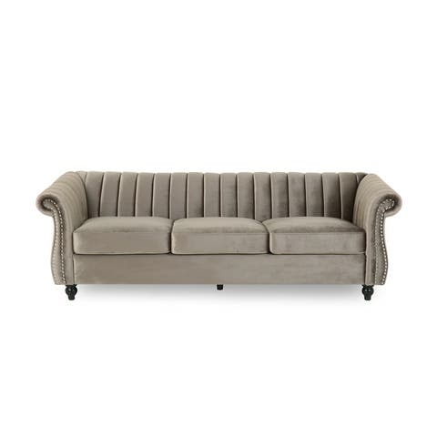 Bowie Modern Glam Velvet 3-seat Sofa by Christopher Knight Home