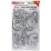 """Stampendous Cling Stamps & Stencil 5""""X7""""-Winter Friends"""